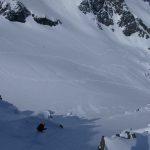 Dropping into Aniversary Glacier