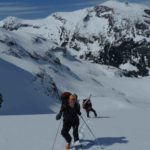 Climbing through the Matier glacier icefall