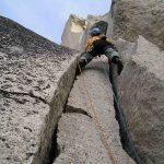 Cody Lank climbing on Mctech Arete