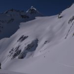 Skinning up the Anniversary Glacier, Mount Matier behind