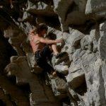 Crosby Johnston rock climbing on a 5.13