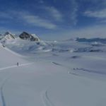 Wapta Traverse - Skiing away from Bow Hut