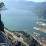 Rock climbers high on the Squamish Chief