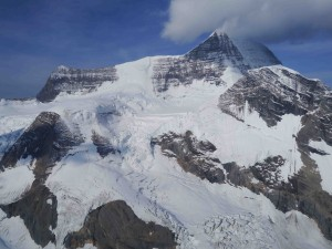 Mt. Robson from the air, looking at the Kain Face.