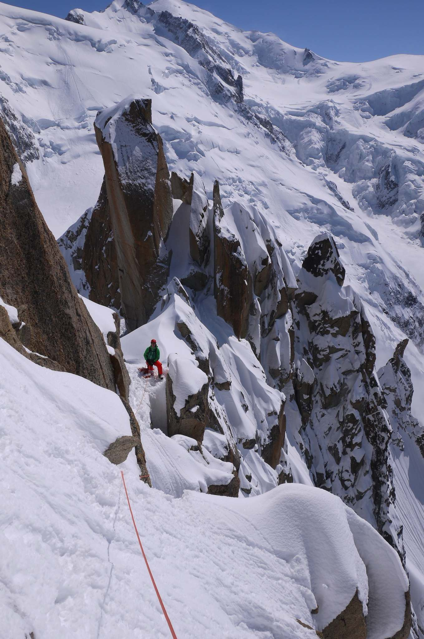 Carsten belaying on the last pitch