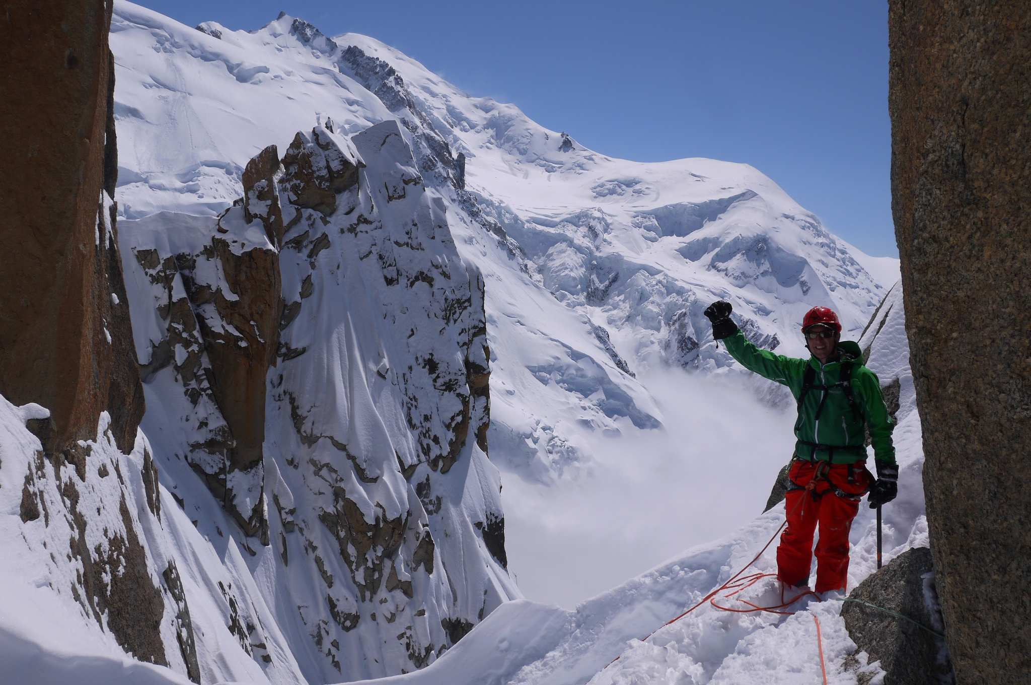Carsten mid route on the Cosmiques Arete