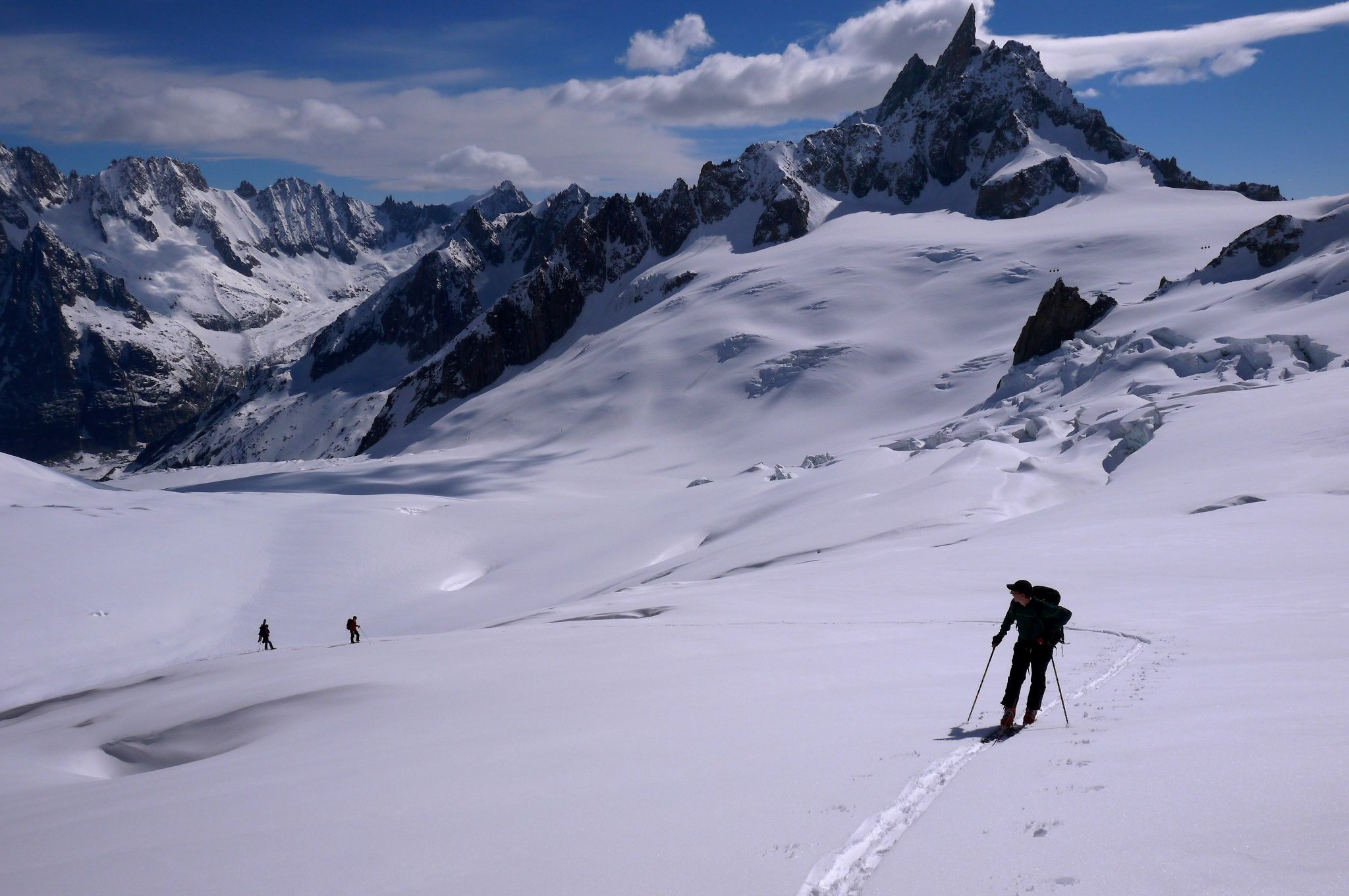 Skinning up to the Tour ronde, dent du geant in the distance