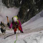 Kirsi Heiskanen Ice climbing on the Frendo Spur