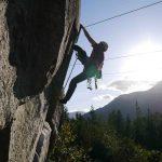 Dr. Eric Angus leading 5.10d rock climb called Gourd's Block