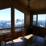 Looking at Vancouver Island and the Coast Range from inside the Hut