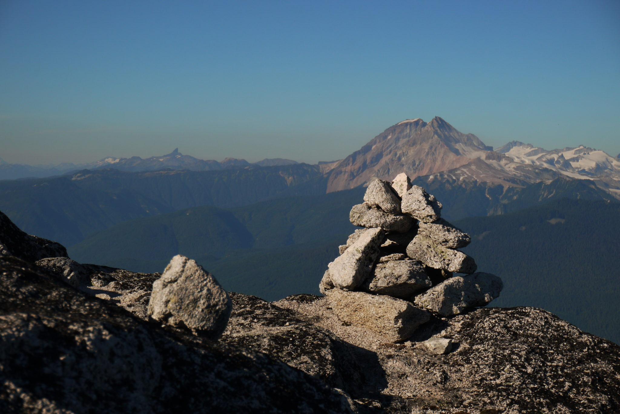 Summit Cairn with Black Tusk and Garibaldi behind