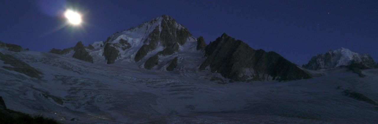 Moonlight on Aiguille Verte and Aiguille du Chardonnet from Albert Premier Hut