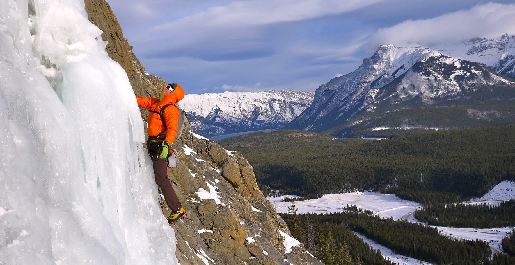 Climber on Cascade Falls