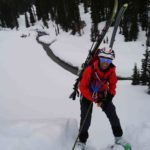 Rappelling with skis on during Canadian Society of Mountain Medicine DIMM Winter program - Altus MOuntain Guides.com