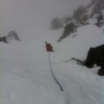 Lowering into Disease Ridge shoot Blackcomb Backcountry