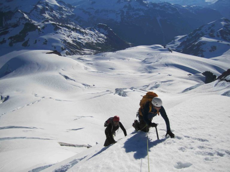 Gaining the Summit snow rib of Mt. Garibaldi