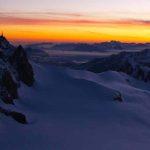 Sunrise of the Aiguille du Midi and Aiguille Verte