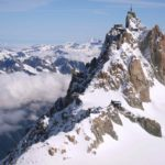 The Cosmiques refuge and the Aiguille du Midi