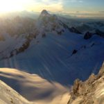 Morning sun on the Dent to Geant and the peak far off in Switzerland