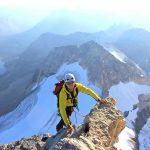 Lance on the Mount Assiniboine North Ridge