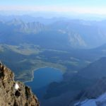 Looking down at Lake Magog from the summit of Mount Assiniboine