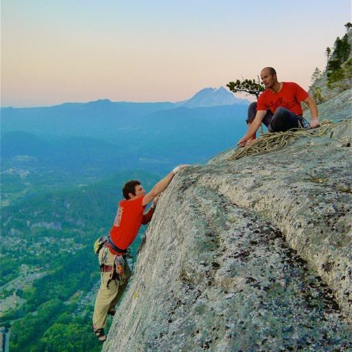 Topping out a Squamish rock climbing classic