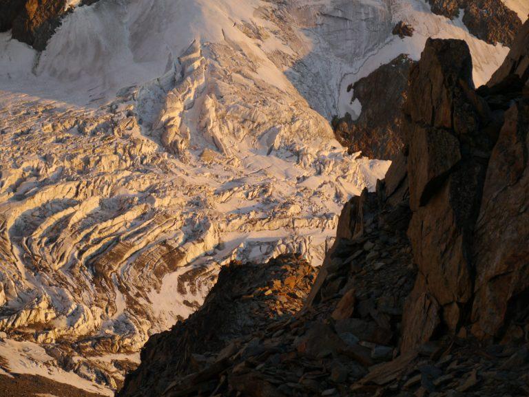 Sunset on glaciers at de Tet Rousse Refuge Mont Blanc Chamonix