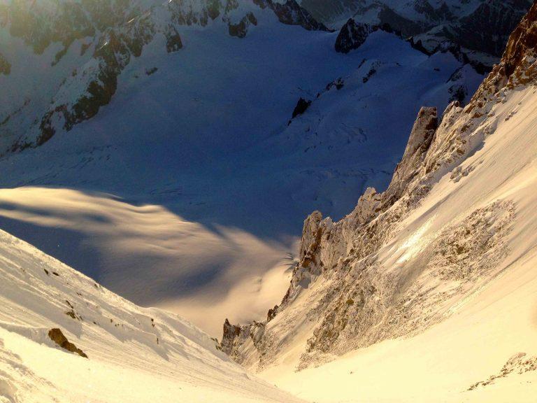 Looking down the Gervassutti couloir - Mont Blanc du Tacul